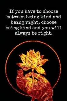 If you have to choose between being kind and being right choose being kind and you will always be right2